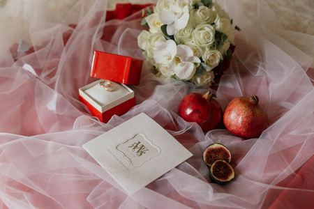 Wedding Rings Wedding Card And Wedding Bouquet With A Lot Of