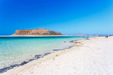 gritty: View of gritty beach of Balos lagoon on Crete. Greece.