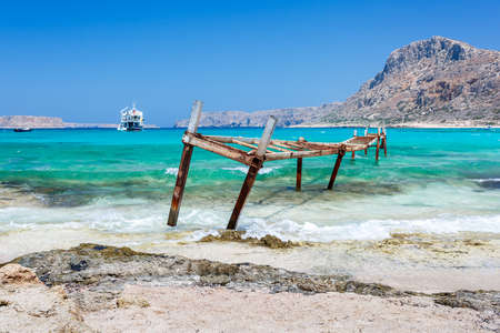 View of broken iron wharf in Balos lagoon. Crete. Greece.