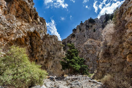 the collapsing: Beautiful view of rocks of Imbros gorge. Crete. Greece. Stock Photo