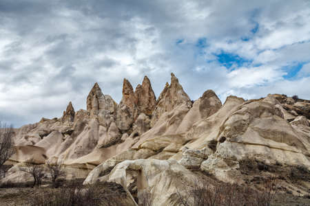 View of the edgy tops of the mountains in Cappadocia in winter. Turkey. Stock Photo