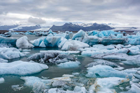 Floating chunks of ice in ice lagoon in Iceland Stock Photo