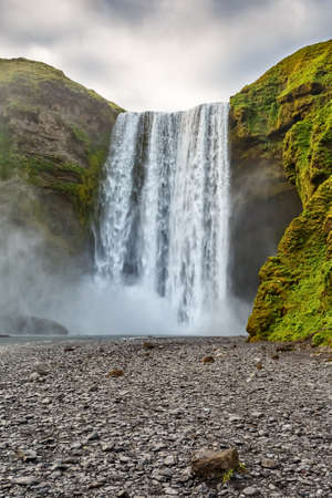 Vertical view of Skogafoss waterfall of Iceland. Stock Photo