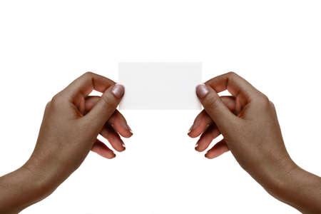 African female hands hold white card on a white background. Stock Photo