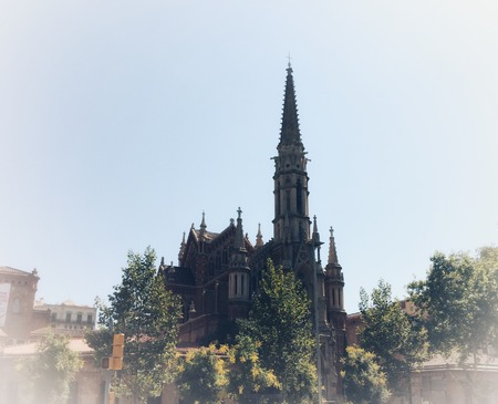 Gothic cathedral, Gothic cathedral with a spire and a tower, surrounded by trees, vignetting