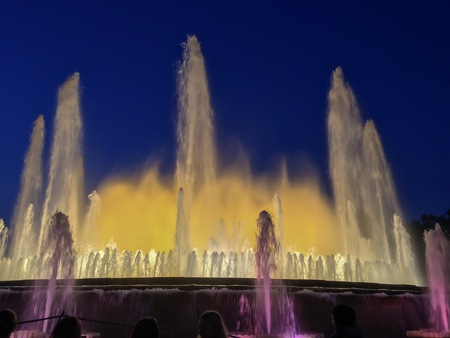 Musical show of a colorful fountain in Barcelona