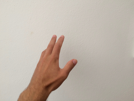 outstretched palm, hand on a white background, back of the hand, part of the body, part of the hand, hair on the hand, white skin