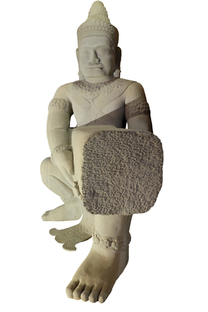 ancient white statue, decorative sculpture from ancient Asian temple, isolated, white background