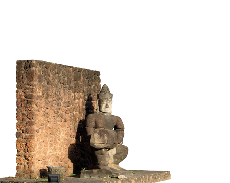 Ancient stone sculpture. Stone wall and statue of a man. Work of Asian art. Isolated White background. Imagens