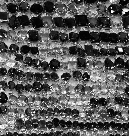 bright cheap women's bijouterie, jewelry, shiny glass, background Stock fotó