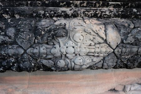 Antique stone carving. An example of stone carving made in medieval Indochina. Banque d'images