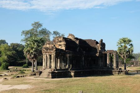 Dilapidated building of the temple complex of Angkor in Cambodia. The medieval architecture of the countries of Southeast Asia.