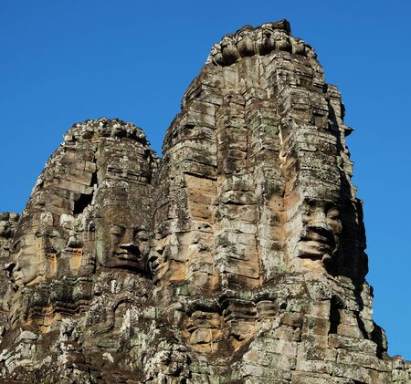 Monumental ancient temple of Bayon in Cambodia. Medieval temple in Indochina. Architectural art of ancient civilizations.