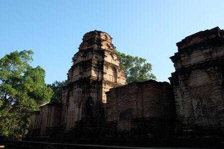Prasat Kravan. Temple ruins, Angkor, Siem Reap, Ð¡ambodia. Small 10th century temple consisting of five reddish brick towers.