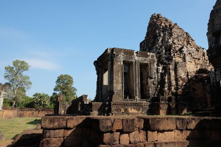 The ruins of an ancient Cambodian temple. The ruins of the temple of Pre Rup.