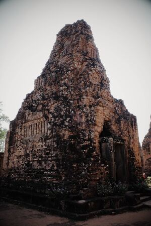 The ancient Khmer temple of Pre Rup. The ruins of medieval buildings. Tourist attraction.