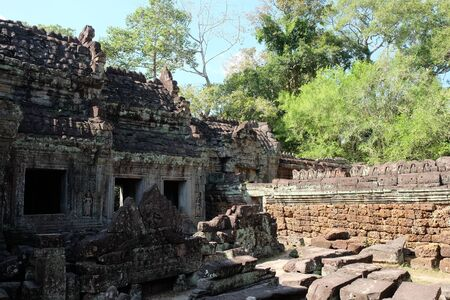 The ruins of the ancient Preah Khan temple complex in the jungle of Cambodia.