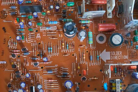 Chernihiv region, Ukraine, April 25, 2019. Old printed circuit board.