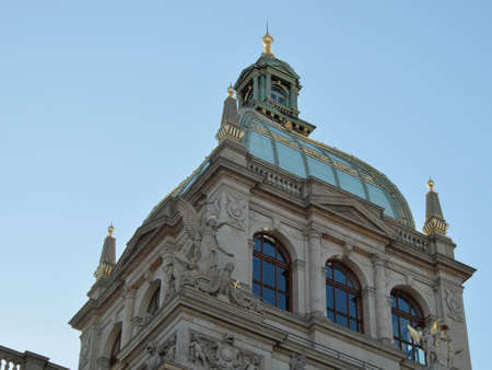 The dome of the Prague National Museum against the sky. Redakční