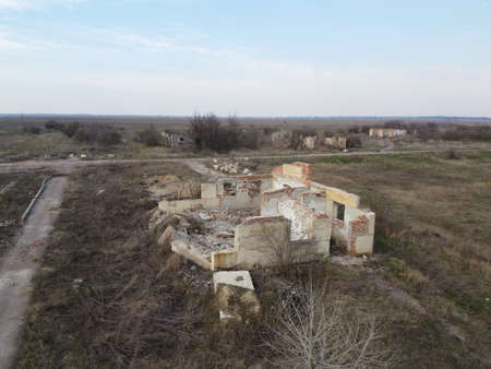 The ruins of an old livestock enterprise, aerial view.