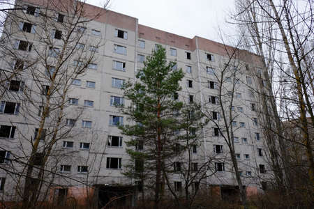 Abandoned building in Pripyat. Old buildings in the Chernobyl resettlement zone.