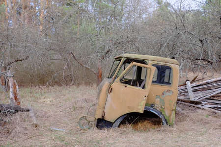 An old broken truck cab in the Chernobyl exclusion zone.