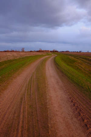 Long dirt road in the fields. Cloudy evening landscape.