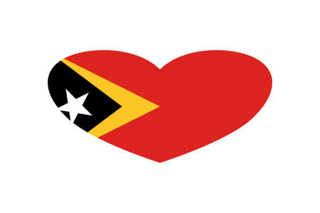 East Timor flag in the heart shape. Isolated on a white background. Archivio Fotografico