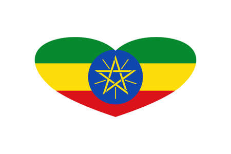 Ethiopia flag in the heart shape. Isolated on a white background.