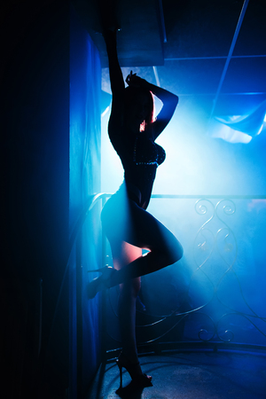 gogo girl: girl with nice body posing at a nightclub at a party silhouette