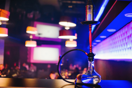 hookah bar with a nice clear bulb to Smoking tobacco and relaxing Archivio Fotografico