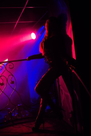 Girl posing at wall in nightclub on stage silhouette