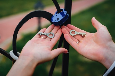 bride and groom hold the keys to thepadlock. Russian wedding tradition to consolidate the relationship for eternity