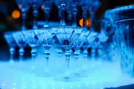 alcoholic cocktail glasses with cherry close-up Stock Photo