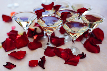 glasses of Martini and champagne on a festive wedding table