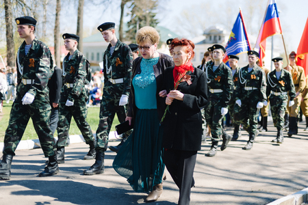 VICHUGA, RUSSIA - MAY 9, 2015: Parade in honor of victory in Second World War, Russia