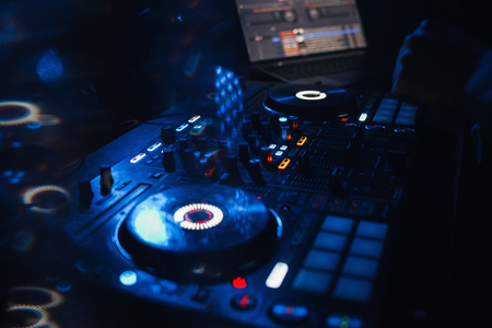 DJ controller panel on for professional music and sound