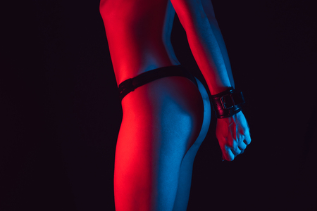 sexy erotic ass girl in a Thong with handcuffs Stok Fotoğraf