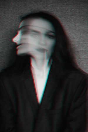 abstract black and white portrait of a girl with mental disorders and glitch effect Reklamní fotografie - 125338619