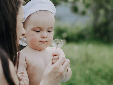baby boy with mom playing dandelion flower in summer Reklamní fotografie