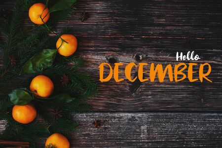 fir branches and tangerines on a wooden background and the text Hello December