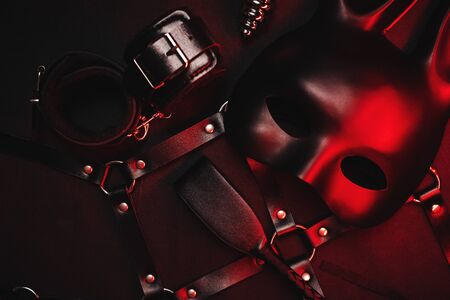 Mask, whip, handcuffs and other erotic toys for role playing Foto de archivo