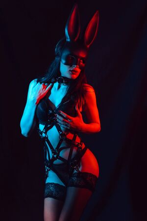 sexy young girl model in stockings masked Bunny in lingerie with leather harness