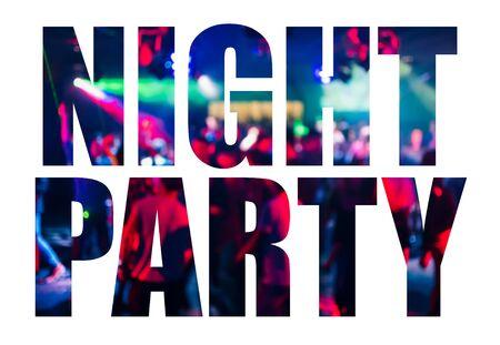 Testo di festa notturna su sfondo bianco. Lettere dal design creativo Archivio Fotografico