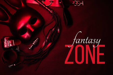 set of toys for with submission and domination and role-playing games. Text Fantasy Zone