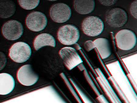 makeup brush set and professional eye shadow palette close up. Black and white photo with 3D glitch effect Imagens