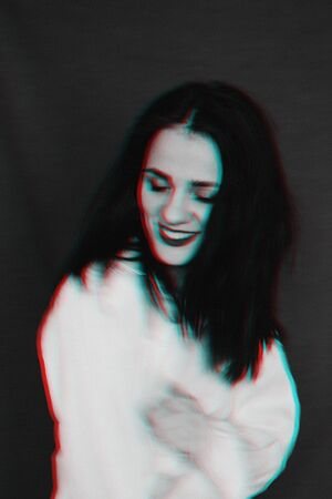 black and white portrait of smiling girl with glitch effect 免版税图像