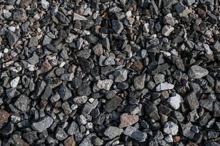 gravel on road. Natural stone texture Imagens