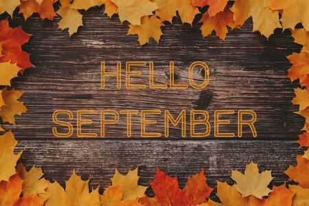 inscription Hello September on a wooden background with a frame of autumn maple leaves Banco de Imagens - 150090232