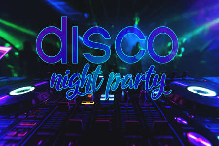 inscription Disco Night Party on the background of the DJ mixer Stock fotó